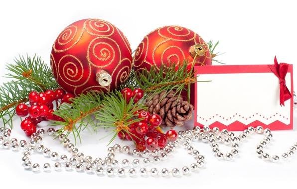 Картинка ягоды, шары, ветка, ёлка, шишки, ёлочные украшения