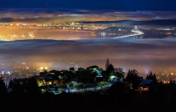 Картинка ночь, мост, город, огни, туман, Калифорния, США, залив Сан-Фрациско, Беркли