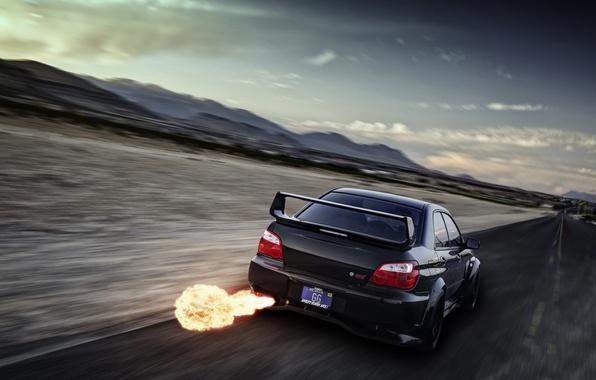 Картинка пламя, скорость, Subaru, Impreza, размытость, чёрная, WRX, black, выхлоп, rear, субару, импреза, STi