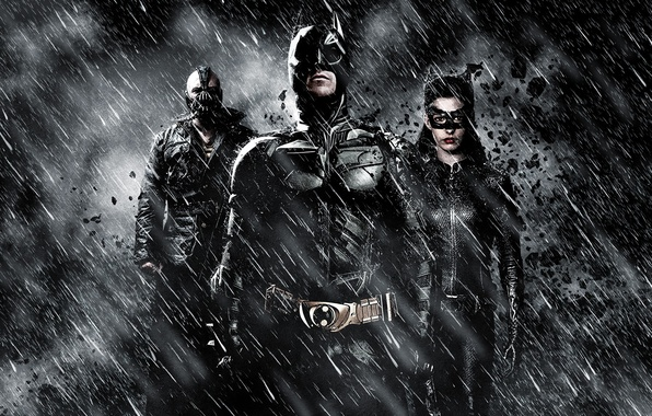 Картинка Бэтмен, Batman, The Dark Knight Rises, Кристиан Бэйл, Anne Hathaway, Том Харди, Бэйн, Tom Hardy, …