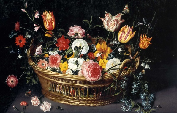 Картинка картина, натюрморт, Ян Брейгель младший, Корзина с Цветами