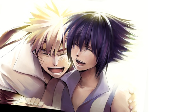 Картинка позитив, Аниме, Наруто, Naruto, улыбки, Uchiha Sasuke, Учиха Саске, Uzumaki Naruto, Узумаки Наруто