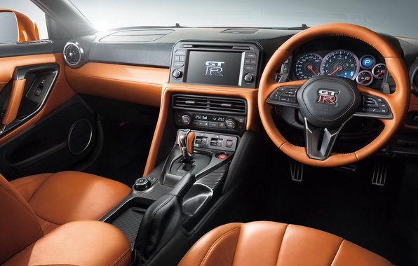 Картинка панель, интерьер, руль, Nissan, GT-R, салон, ниссан, R35, торпедо