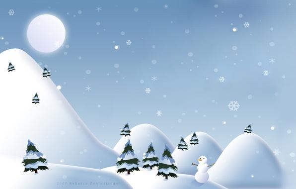 Картинка лес, елки, Зима