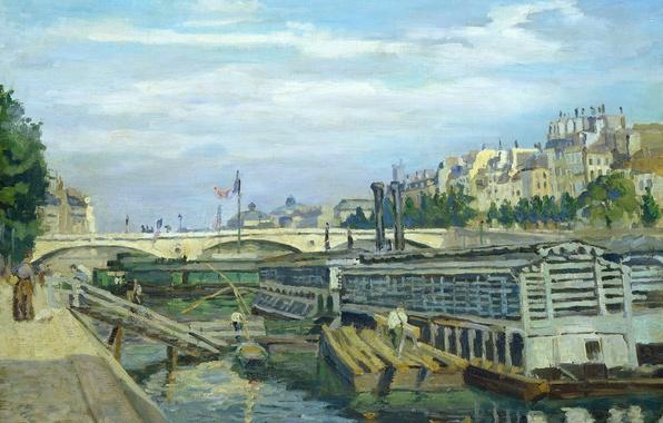 Картинка пейзаж, мост, река, Париж, дома, картина, городской, Арман Гийомен, The Bridge of Louis Philippe