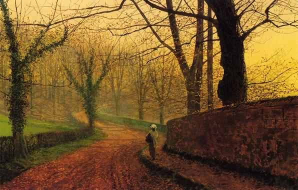 Картинка осень, деревья, парк, листва, спуск, картина, девочка, алея