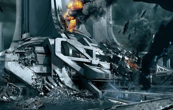 Картинка город, огонь, дым, корабли, руины, mass effect 3, жнецы, concept art, thessia