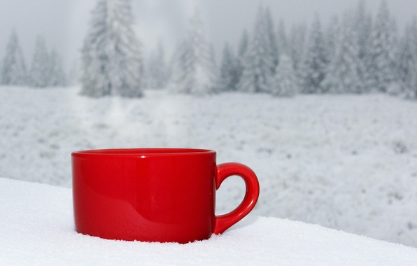 Зима снег природа чашки кофе пейзаж