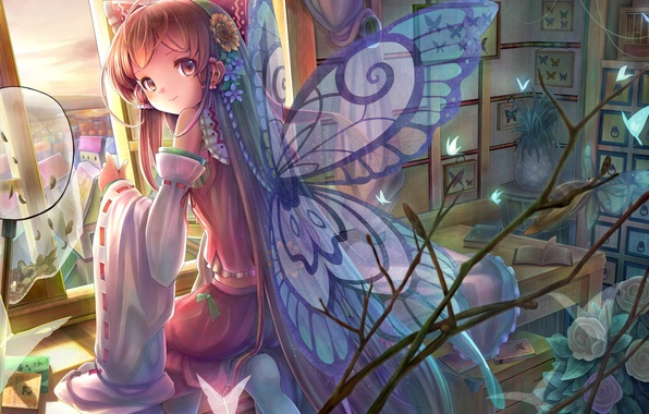 Картинка бабочки, цветы, улыбка, стол, комната, крылья, окно, арт, девочка, книга, touhou, сидя, hakurei reimu, sanntouhei
