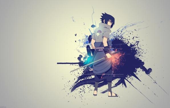Картинка креатив, меч, Sasuke, Наруто, Naruto, Саске Учиха, кусанаги