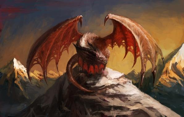 Картинка небо, взгляд, горы, красный, фантастика, дракон, крылья, арт, пасть, хвост, когти, рога