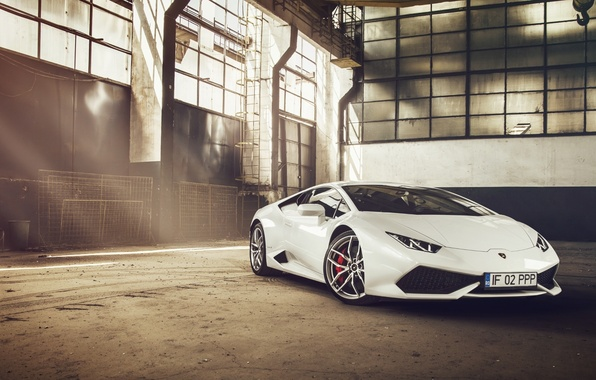 Картинка Lamborghini, Front, White, Supercar, Huracan, LP610-4