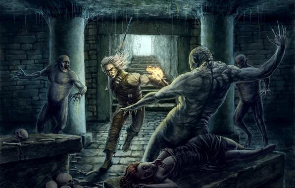 Картинка девушка, огонь, меч, факел, the witcher, ведьмак, нежить, подземелье, мертвая, анджей сапковский