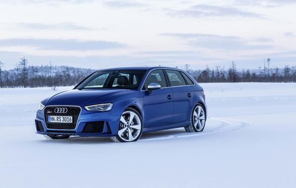 Картинка фото, Audi, Синий, Снег, Автомобиль, Sportback, RS3, 2015, Металлик