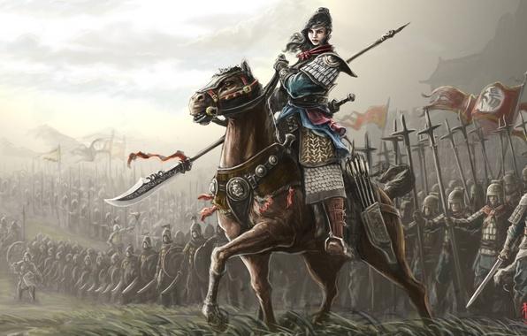 Картинка девушка, оружие, фантастика, конь, доспехи, арт, флаги, воины