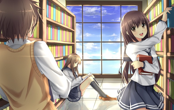 Картинка девушки, книги, аниме, арт, форма, библиотека, парень, школьники, akabane