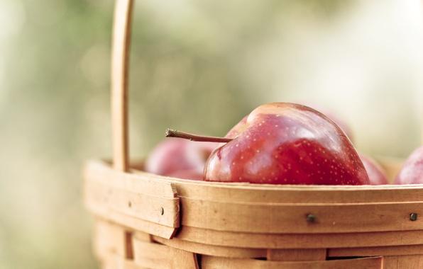 Картинка макро, красный, фон, widescreen, обои, корзина, яблоки, яблоко, еда, размытие, фрукт, wallpaper, фрукты, корзинка, широкоформатные, …