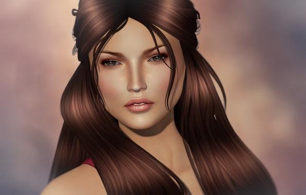 Картинка взгляд, девушка, лицо, волосы, красотка