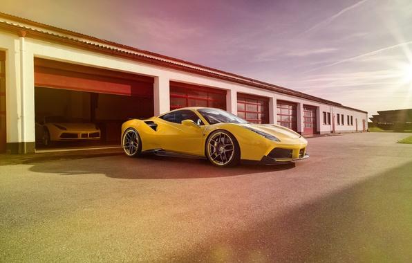 Картинка машина, авто, гараж, Ferrari, феррари, Rosso, Novitec, 488 GTB