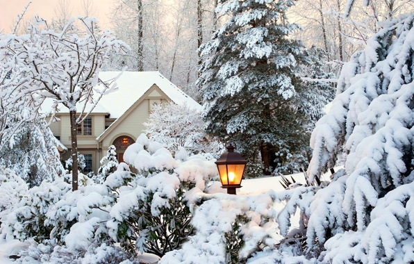 Картинка зима, небо, снег, деревья, пейзаж, природа, дом, парк, сад, фонарь, house, white, sky, trees, nature, …