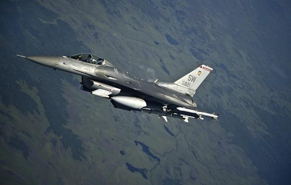 Картинка истребитель, полёт, F-16, Fighting Falcon