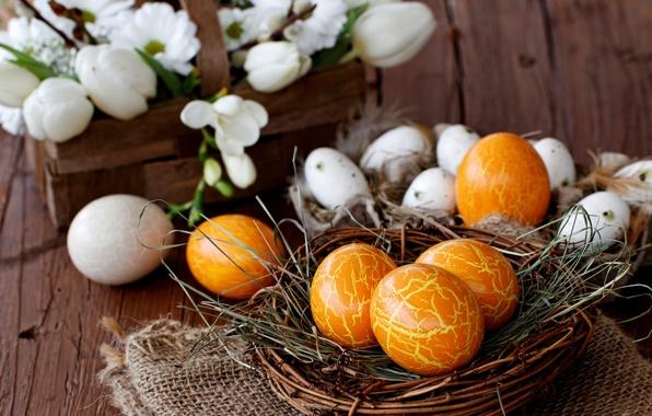 Картинка цветы, праздник, корзина, яйца, весна, Пасха, гнездо, крокусы, белые, Easter, пасхальные