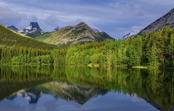 Картинка небо, облака, деревья, горы, озеро, отражение, Канада, Альберта, Калгари, Национальный Парк