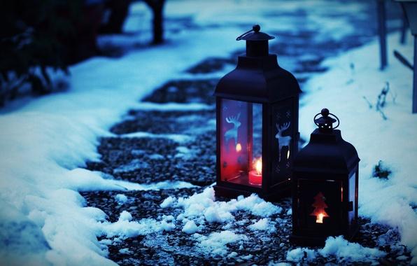 Картинка зима, снег, фон, widescreen, обои, узоры, настроения, елка, фонарик, фонарь, wallpaper, широкоформатные, background, полноэкранные, HD ...