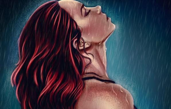 Картинка девушка, капли, лицо, дождь, арт, профиль, живопись, плечи, красные волосы