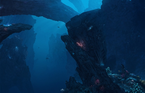 Картинка глубина, морское дно, deep seas of pandora
