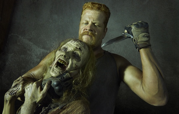 Картинка взгляд, нож, зомби, The Walking Dead, Ходячие мертвецы, Michael Cudlitz, Абрахам