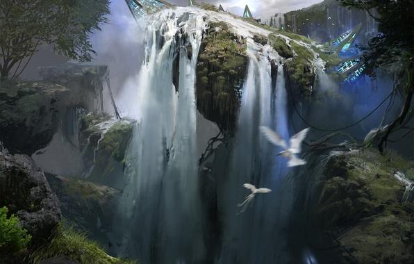 Обои картинки фото фантастика, арт, природа, водопад