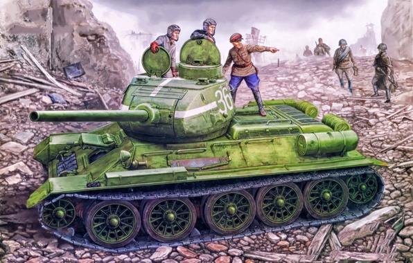Картинка war, art, painting, tank, ww2, russian tank, T-34/85