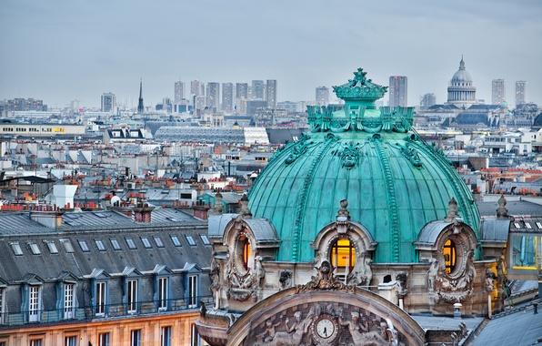 Картинка Франция, Париж, здания, дома, крыши, Paris, архитектура, купол, дворец, France, Иль-де-Франс, Гранд-опера, Opéra Garnier, Ile-de-France