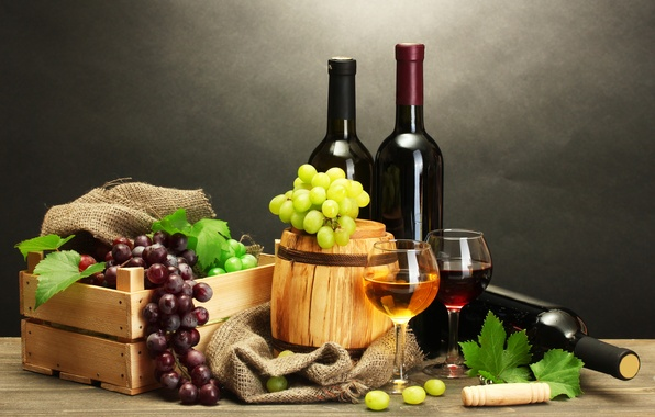 Картинка листья, стол, вино, красное, белое, виноград, бутылки, ящик, штопор, бочонок