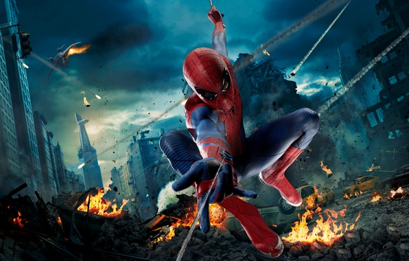 Картинка car, City, wallpaper, fire, fantasy, sky, cars, The, movie, new, screen, Spider-man, The Avengers, Avengers, …