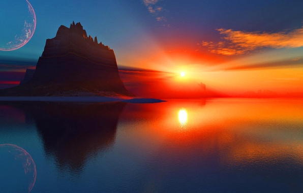 Картинка море, небо, солнце, космос, облака, лучи, закат, скала, озеро, планета, гора