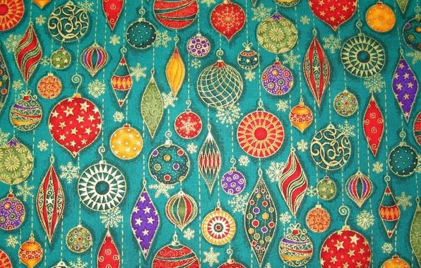 Картинка шарики, украшения, снежинки, игрушки, новый год, рождество, сосульки, ткань, нашивка, аппликация