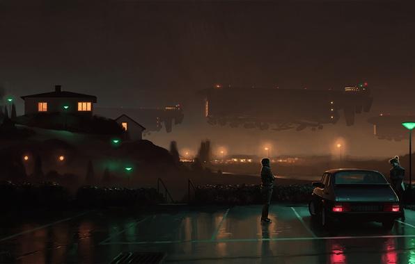 Картинка авто, девушка, ночь, дом, фантастика, арт, фонари, пара, художник, парковка, парень, огни города, Simon Stålenhag, …