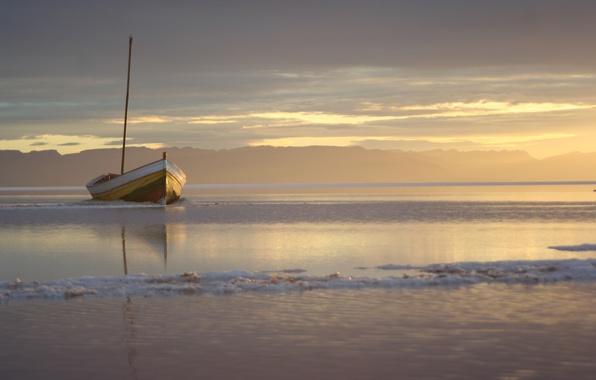 Картинка море, вода, лодка, Закат