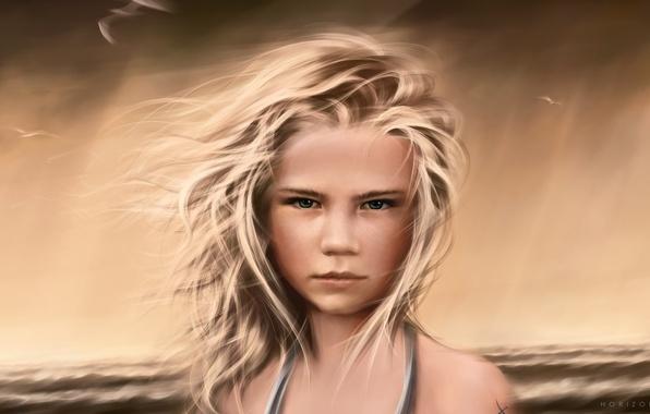 Картинка море, волны, девушка, шторм, океан, ветер, берег, волосы, чайки, горизонт