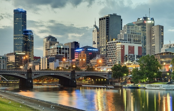 Картинка мост, здания, Австралия, набережная, Melbourne, Yarra River, Australia, Мельбурн, река Ярра, Princes Bridge