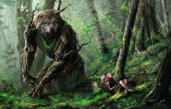 Картинка лес, девушка, деревья, звери, волк, арт