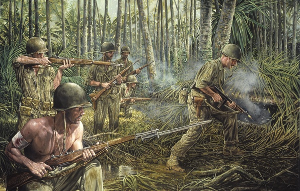 Картинка трава, оружие, война, дым, джунгли, солдаты, war