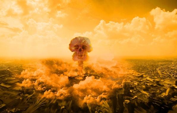 Картинка облака, город, смерть, череп, Взрыв, разрушение