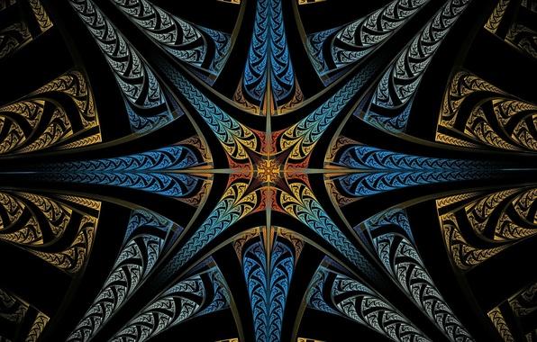 Картинка лучи, свет, линии, узор, цвет, симметрия