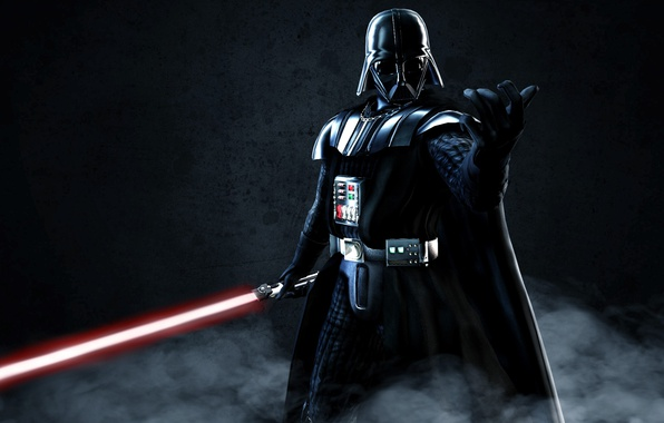 Картинка Star Wars, dark, sword, wall, Darth Vader, fantasy, armor, fog, ken, evil, lightsaber, dark side, …