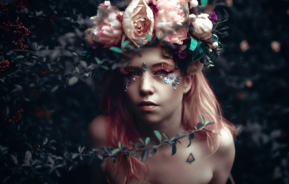 Картинка девушка, фантазия, розы, арт, Pink Story