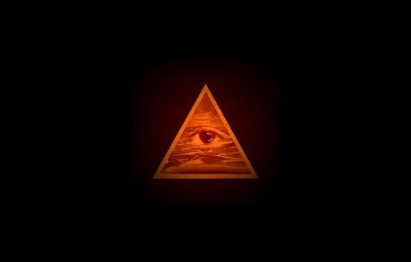 Картинка глаз, минимализм, abstract, пирамида, pyramid