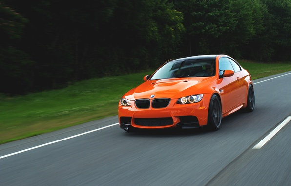 Картинка дорога, деревья, оранжевый, скорость, BMW, БМВ, road, speed, orange, e92